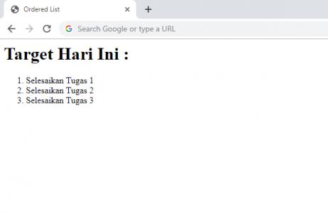 Ordered List HTML
